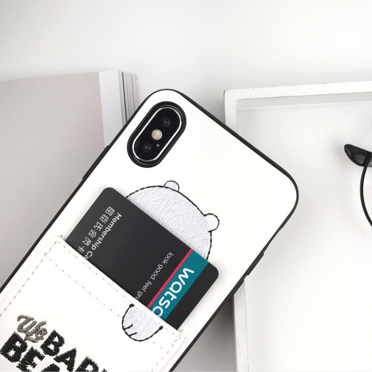 Leather Pu Leather Cartoon Bear Phone Case For Iphone 6 Xs Xsmax Xr 6s7 8 Plus Soft Tpu Cover With Card Pocket Bags Fundas