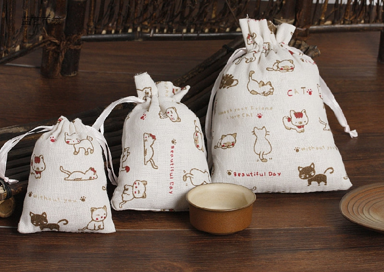 Cat Cartoon Linen Gift Drawstring Bag 8x10cm 10x14cm 13x18cm pack of 50 Makeup Jewelry Pouch