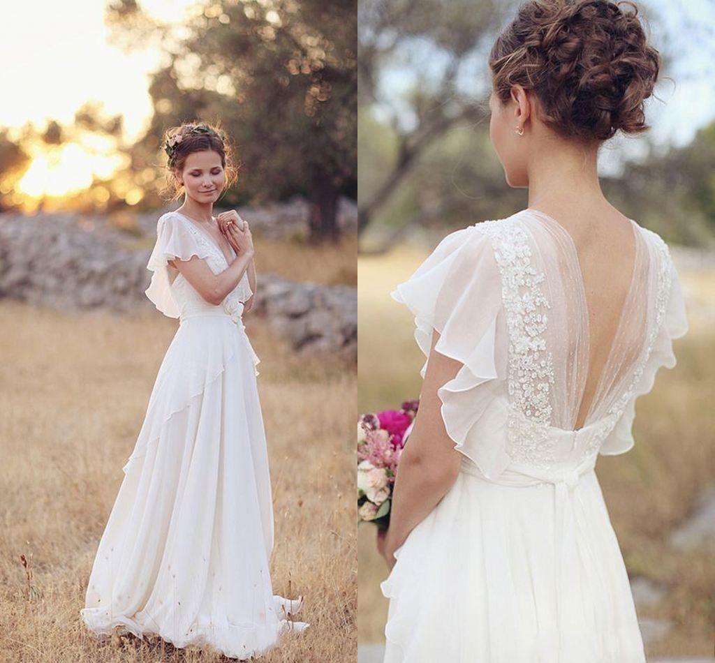 Discount 2019 Cheap Chiffoan Lace Appliqued Bohemian Wedding
