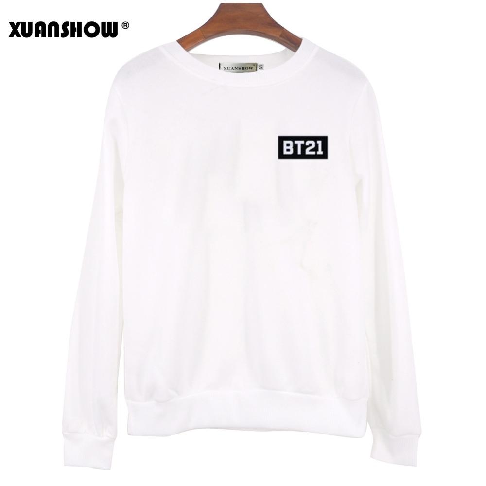 XUNASHOW 2019 New BT21 Sweatshirt for Men Women Korean Long Sleeve BTS Kpop Album Clothes Cartoon Letters Print Tops S-5XL