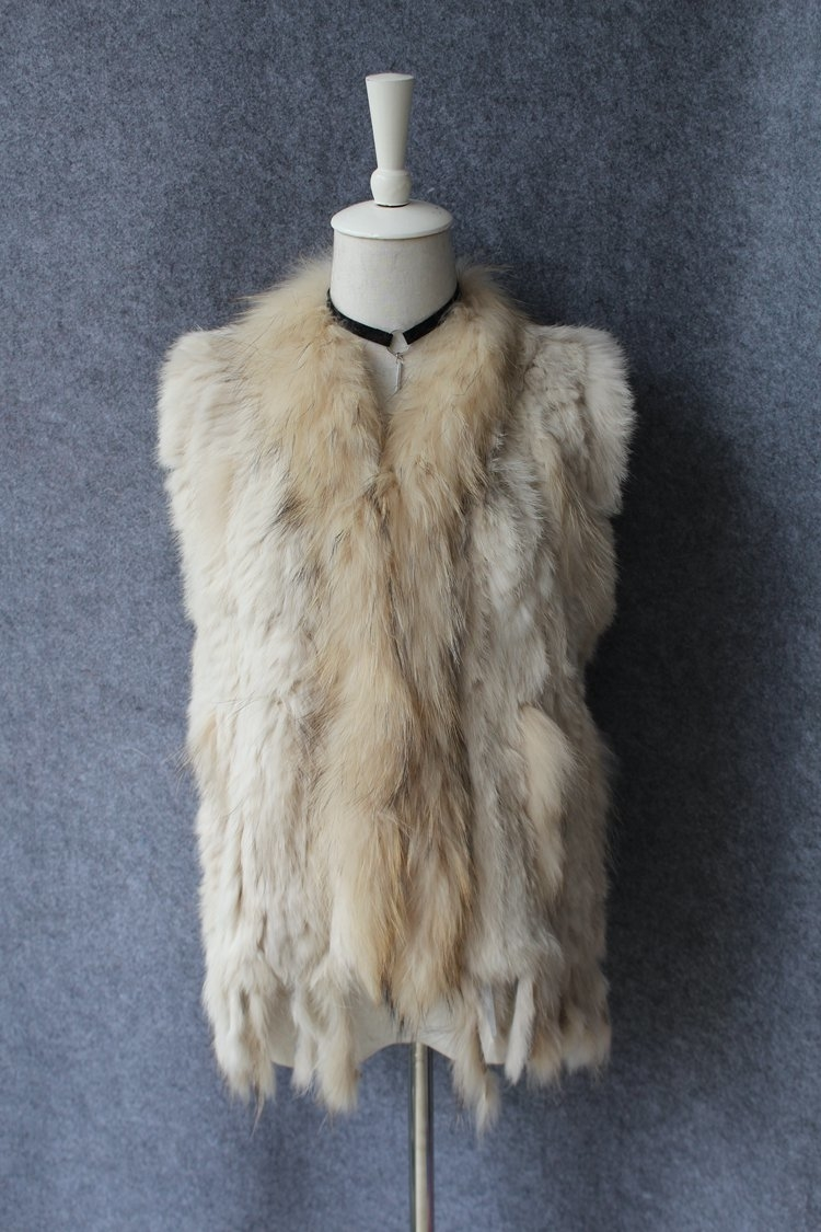 genuine real rabbit fur vest with raccoon fur collar (9)