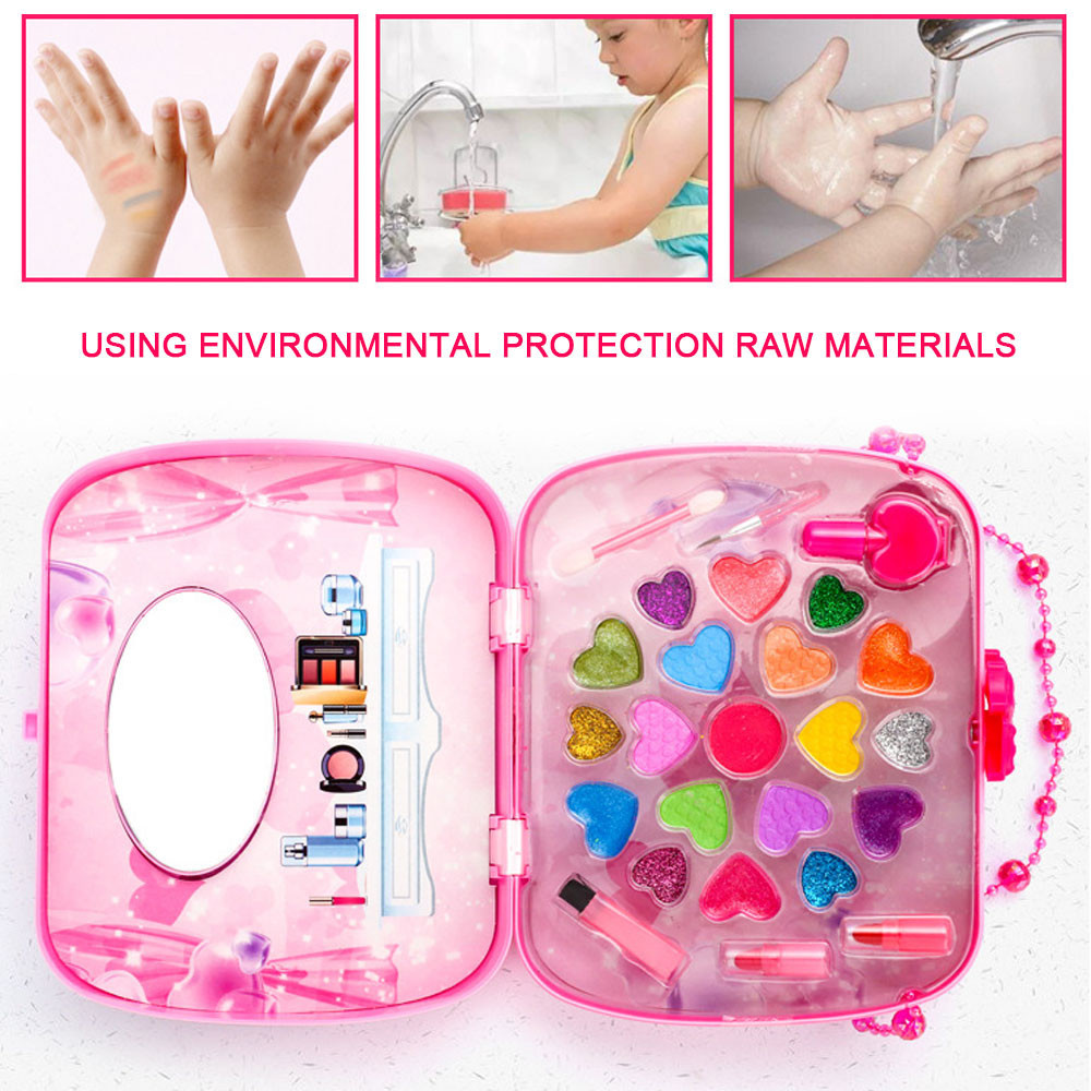Kids Make Up Toy Set Pretend Play Princess Pink Makeup Beauty Safety Non-toxic Kit Toys for Girls Dressing Cosmetic Travel Box