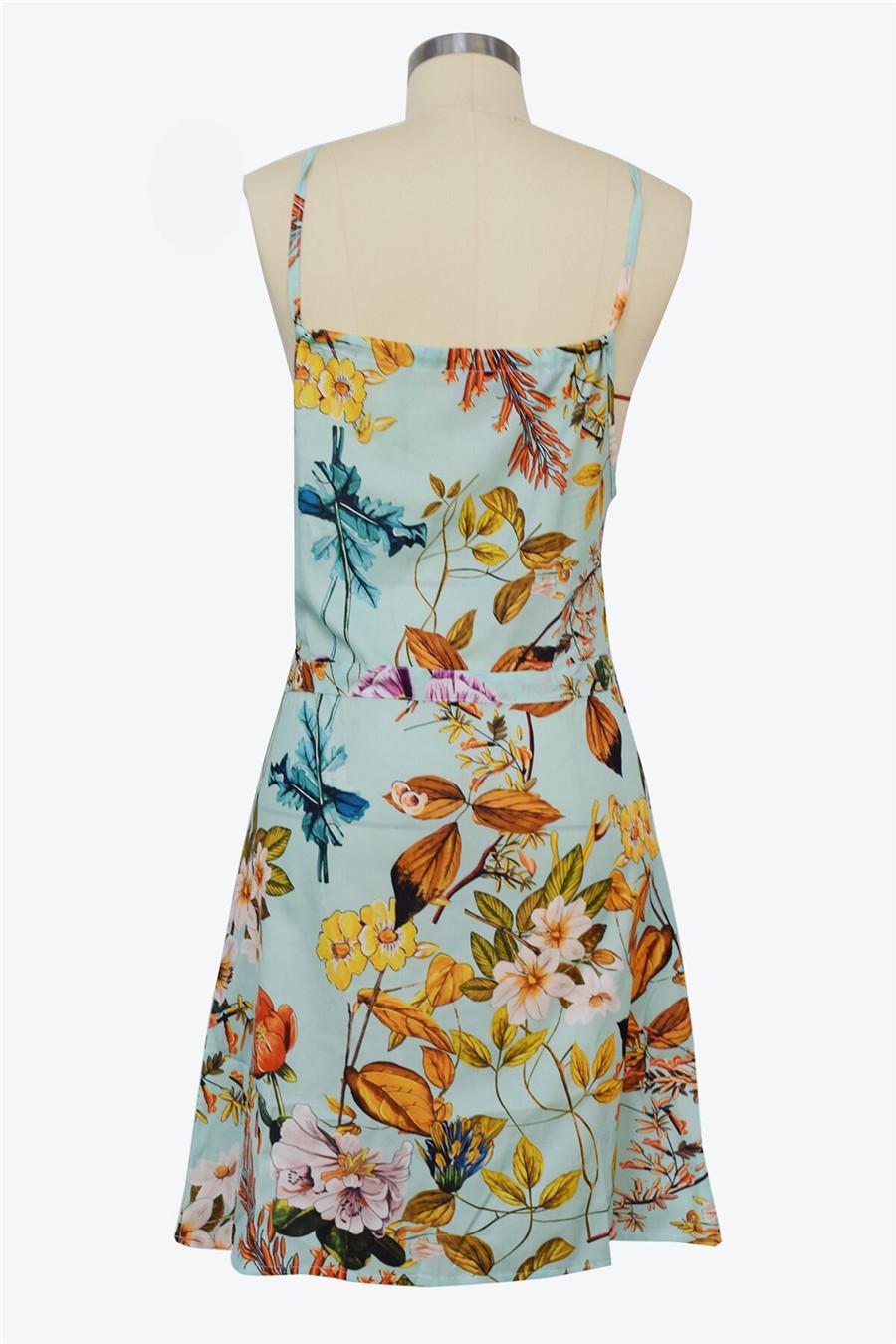 Gladiolus Chiffon Women Summer Dress Spaghetti Strap Floral Print Pocket Sexy Bohemian Beach Dress 2019 Short Ladies Dresses (32)