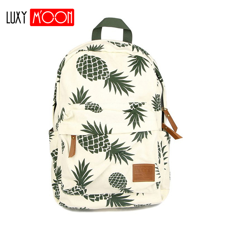 Kids Fashion Pineapple Canvas Backpack for Teenager Girls Laptop Backpack 15inch
