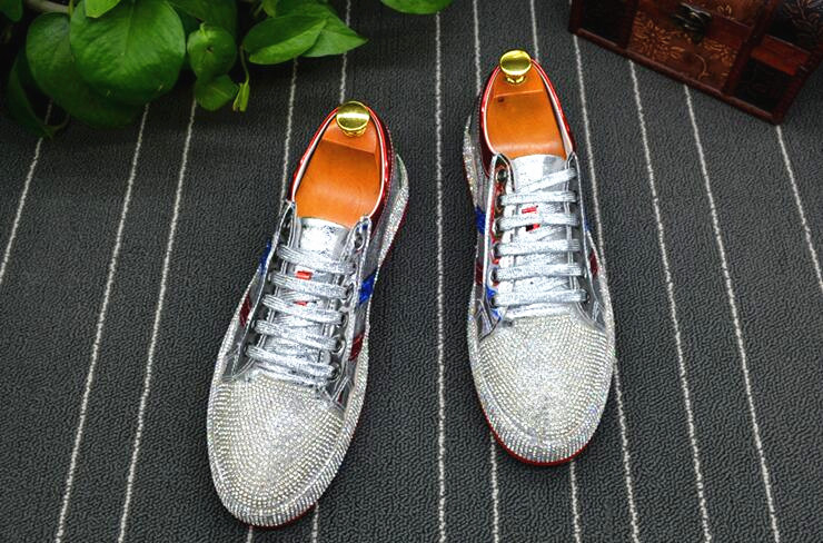 Fashion Men rhinestone gold silver red mixed color Causal Loafers shoes Moccasins Men Driving non-slip Rubber bottom For Man
