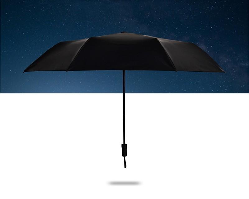 Fashion Black Stars Women Umbrella Three Fold Wind Resistant Anti UV Sun Umbrella Sunny And Rainy Dual-use Male Parasol5