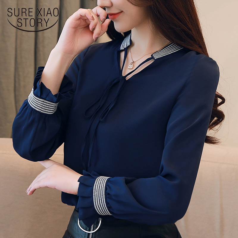 Camicie e camicette da donna Camicetta da donna 2018 Camicette da donna Camicette in chiffon a maniche lunghe Camicie Blusas Femininas 1481 45MX190824