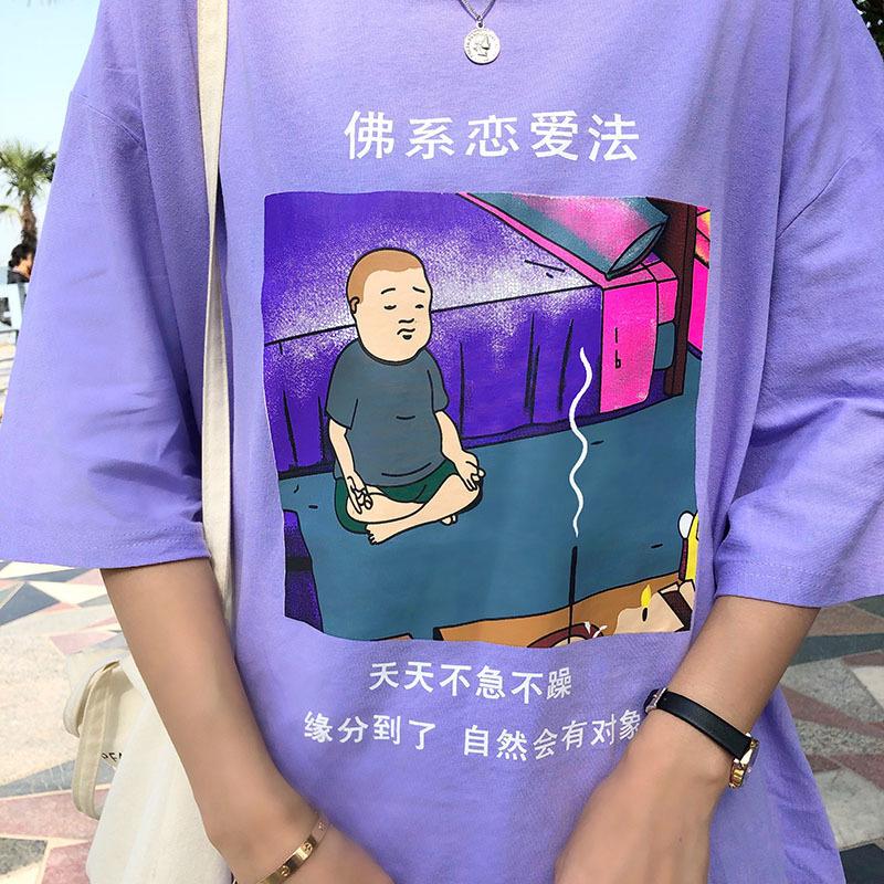 Verão quente Mulheres Casual T Camisa Engraçada Chinês Letra das Mulheres Tshirt Moda Roxo Dos Desenhos Animados Impresso Oversize Tops C19040301