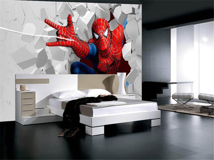 Spiderman Cartoon Theme Large Murals Boy The Wallpaper Of Bedroom The Head Of A Bed Children Room Ktv Bars Superman Wallpaper Free Computer Wallpaper