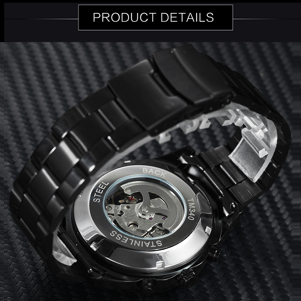 Winner Steampunk Skull Auto Mechanical Watch Men Black Stainless Steel Strap Skeleton Dial Fashion Cool Design Wrist Watches Y19051302
