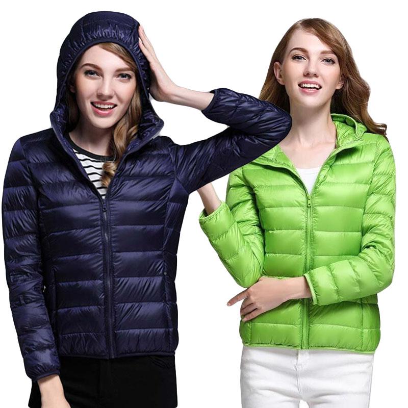 Solid Womens Ultralight Down Hooded Coat Slim Fit Short Jacket Outwear New