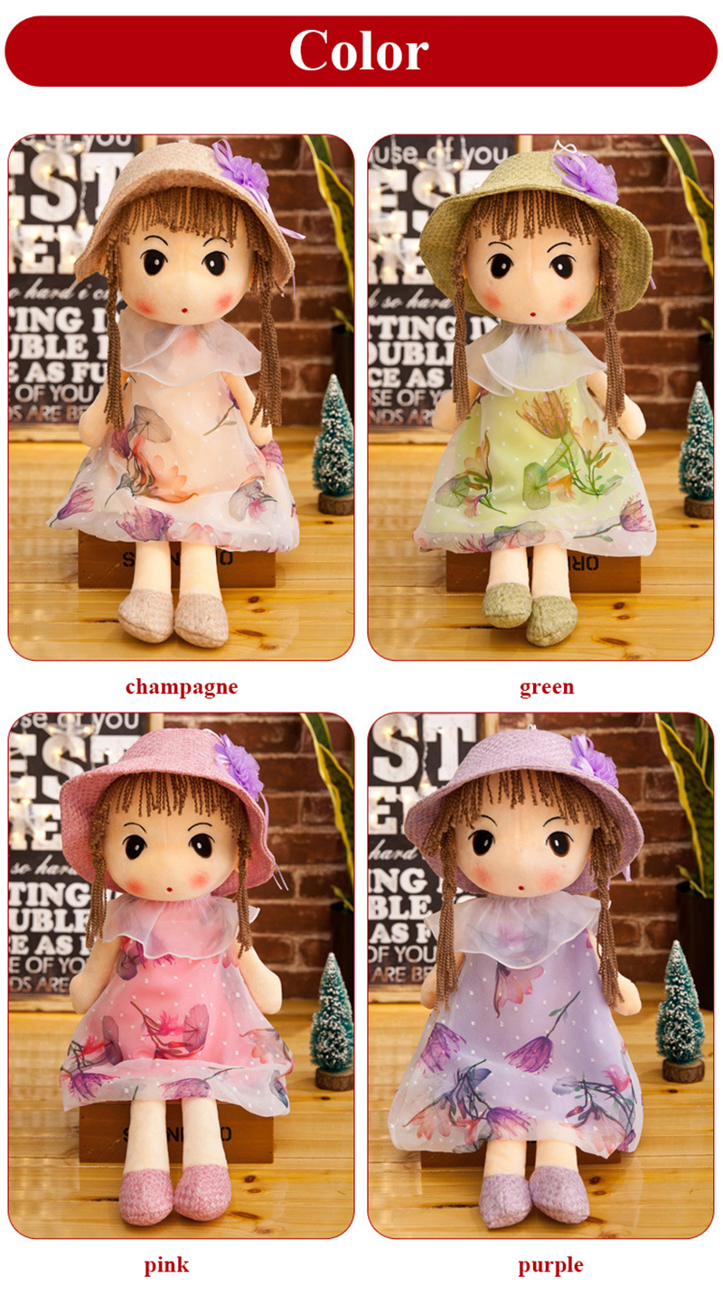 1pcs 40cm Plush Dolls Accompany Doll Toys Cute Cartoon Ragdoll Stuffed Flower Dress Girls Plush Rag Doll Toys for Children Gifts (3)