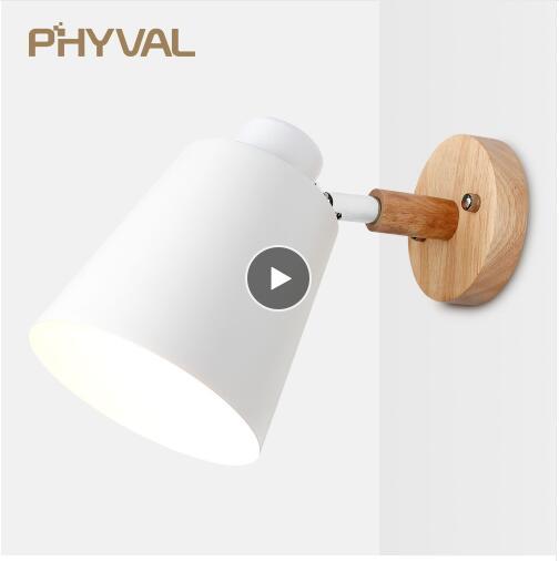 camera da letto con interruttore a cerniera Lampada da parete Lampada da parete nordica in legno lampada da parete comodino E27 lampada da parete moderna lampada da parete