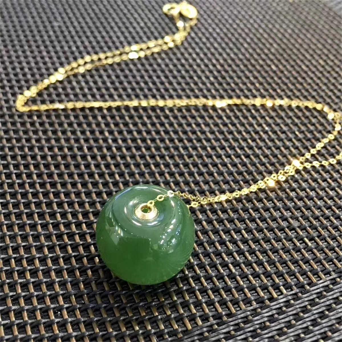 18K Real Yellow Gold Russian Natural Cat Eyes Jasper Green Jade Buckle Necklace Pendants Certificate packaging
