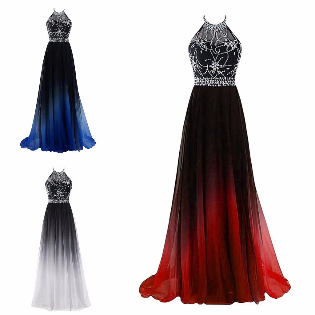 inspiriert ombre gradient halter prom dresses günstige lange reich backless  kristall strass perlen party abendkleid abendkleider günstige new