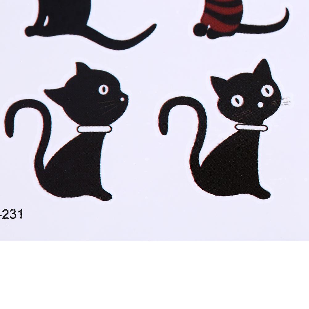 10.5*6cm 1 Sheet Black Waterproof Stickers Body Art Temporary Tattoo Stickers Animal Cat Deer Glitter Tattoo Sticker