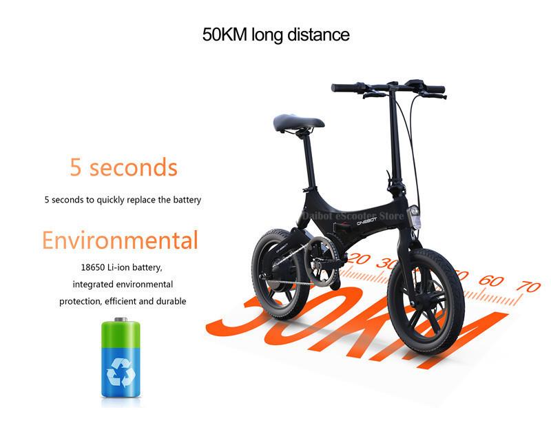 Portable Electric Scooter 250W 36V Two Wheel Electric Bicycle 16'' WhiteBlackOrange Foldable E Bike Max Range 50KM (25)