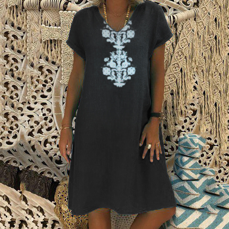 Women Dresses Knee Length Streetwear Fashion Summer Dress Women Plus Size 5XL Cotton Linen Dress Vintage Casual Vestidos Mujer 3
