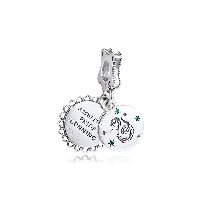 Plain Silver Tone Star Crescent Moon Dangle Charm Slider Bead fits Euro Bracelet