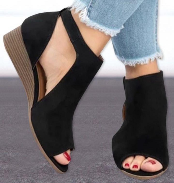 2019 Yeni Desen Kadın Balık Ağzı Platformu Yüksek Topuklu Kama Sandalet Yeni Bayan Kalın tabanlı Sandalet Topuklu