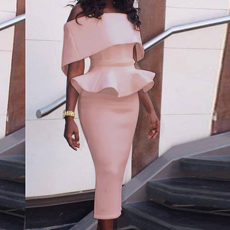 Dress 2017 Women Sexy Slim Package Hip Ruffles Summer Party Dresses Pencil Sheath Dress Vestidos Clothes Lj9148y Y190410