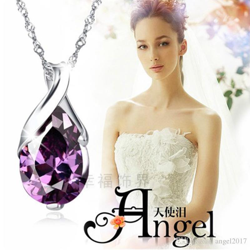 8 pcs lots ANGEL/'S TEAR véritable améthyste agate Onyx Quartz Argent Pendentifs Set