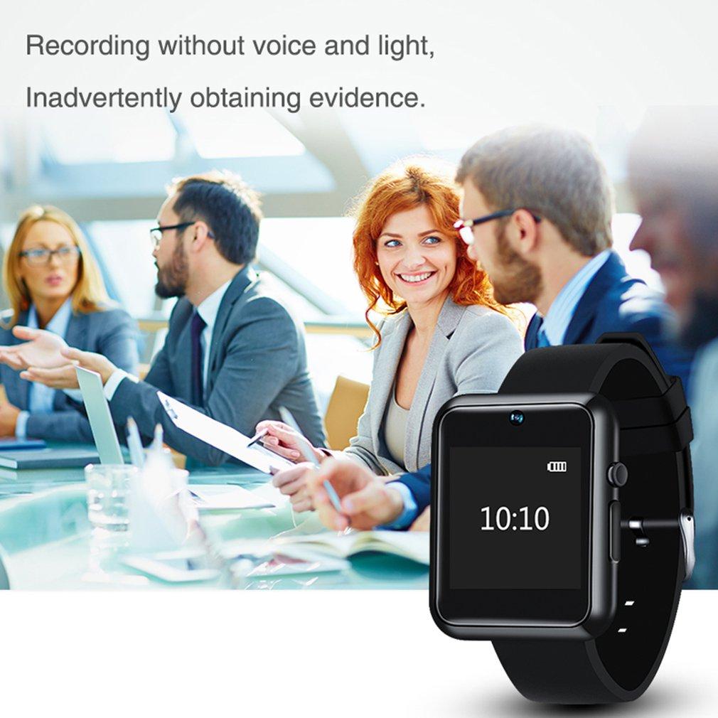 Montre intelligente avec caméra grand angle 5M Écran 1080P Smartwatch Enregistrement vocal Enregistrement de la montre-bracelet Protection de fichier Carte SIM