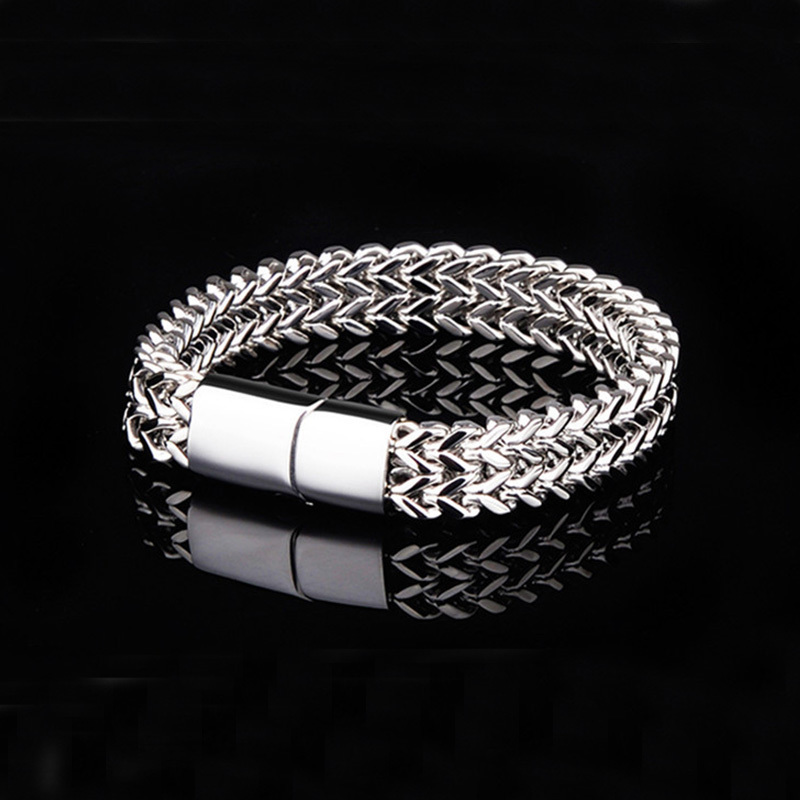 Oulai777 Stainless Steel Bracelet Men Male Cuban Link Chain On Hand Accessories Charm Bracelets Bangles 2019 Mens Rock Style