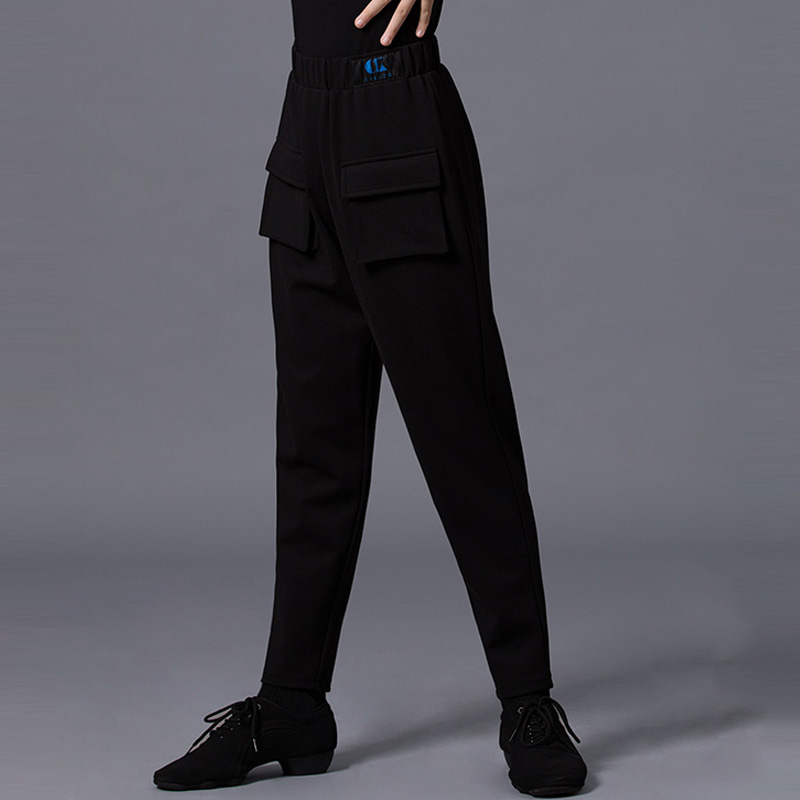 WENDYWU Professional Men and Boys Latin Dance Pants Black Ballroom Salsa Competition Practice Trousers