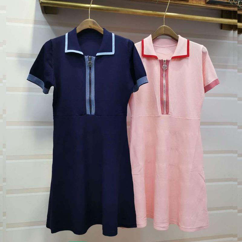 Direct salesFrance S System Spelling Colour Polo Collar Zipper High Waist Slim Temperament Knitting Dress 2019 Summer