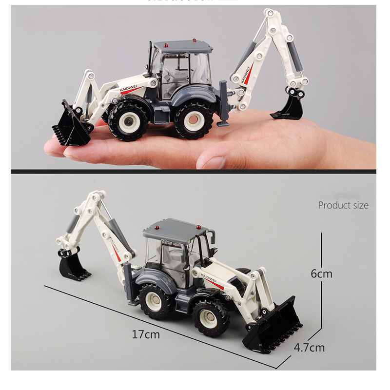 Alloy Diecast Excavator 1:50 4 Wheel Shovel Loader Two-way Forklift Bulldozer Back Hoe Loader Truck Model For Kids Gift Toys J190525
