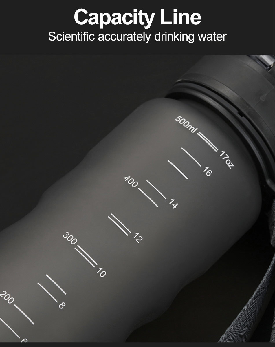 UZSPACE 0%BPA Plastic Sports Water Bottles Portable Travel Outdoor Cycling Drink Fruit protein Shaker My tea bottle 500ml 950ml_08