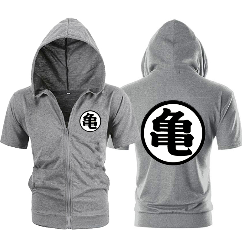 Casual Funny Print Dragon Ball Goku Hoodie Men Black Gray Cosplay Sweatshirt Fashion Short Sleeve Zipper Mens Hoodies Jackets SH190701
