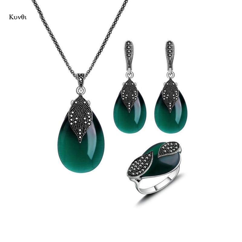 FP 1 Set Collier Boucles d/'Oreilles Rétro Pendentif Turquoise Cadeau Femme