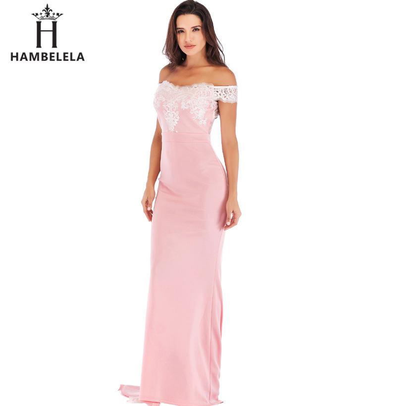 HAMBELELA Vestido De Festa Pink Black Red Mermaid Dress Lace Top Bodice Slim Long Formal Party Dress Charming Wedding Party Gown (1)