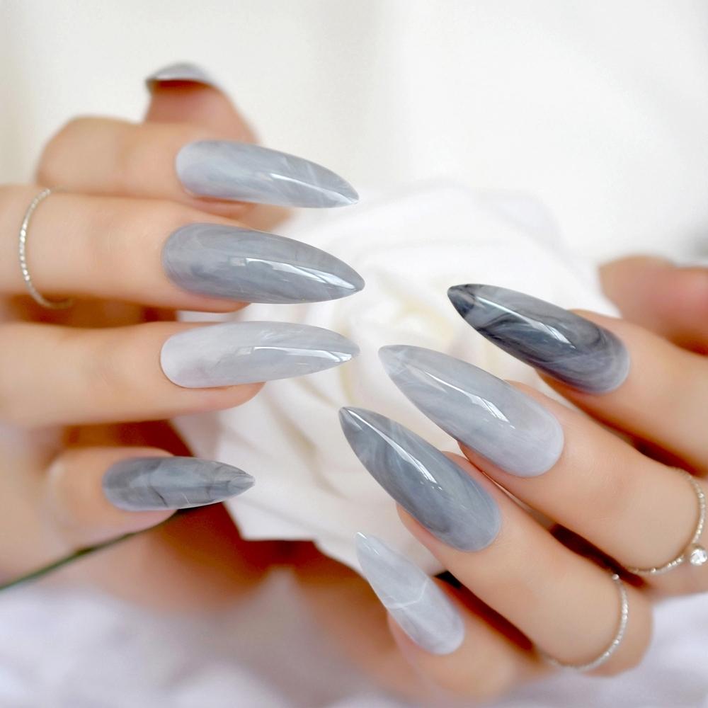 Extra largo estilete gris mármol uñas falsas piedra patrón puntiagudo oscuro brillante Prensa larga en falso para el dedo 24 Conde