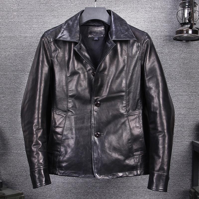 Men Slim Lambskin Leather Coat Motorcycle Biker Overcoat A774