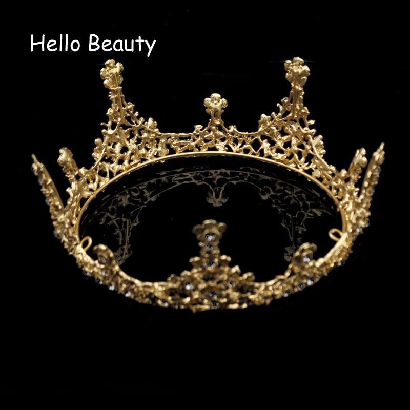 Gold Farbe Barock Vintage Männer Diadem Große Kristall Volle Runde Prom King Crown Hochzeitswettbewerb Königin Tiara Braut Haarschmuck Y19051302