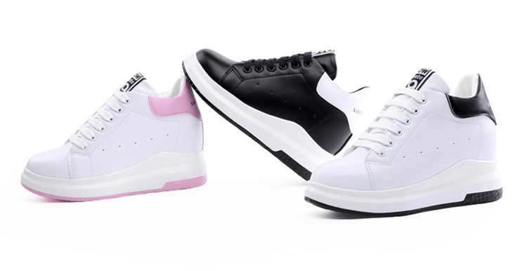 WADNASO Height Increased Casual Shoes Woman Wedge Platform Sneakers Lace Up Breathable Hide Heels Ladies Shoes Female XZ108 (10)