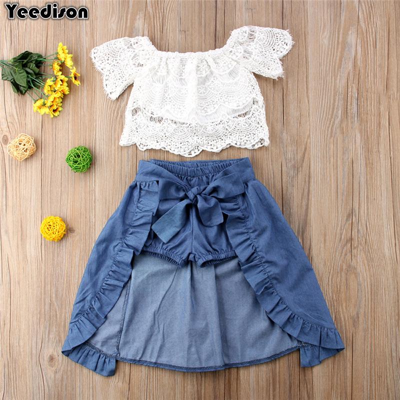 Denim Mini Skirt Outfits Children Summer Clothes Girls 2PCS Floral Printed Top