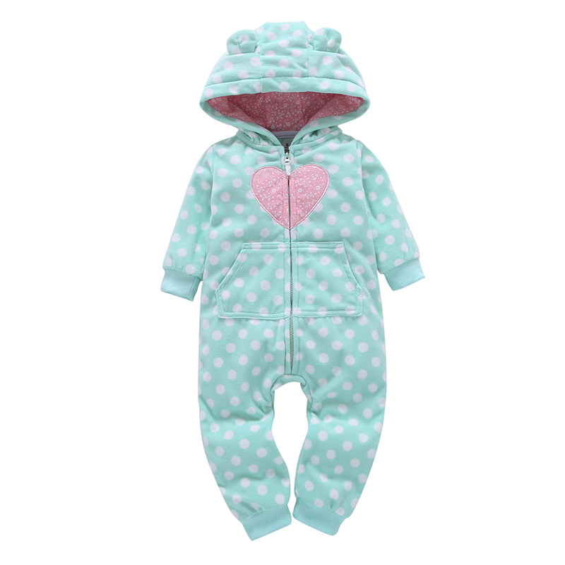baby girl clothes polka dot long sleeve hooded jumpsuit with zipper newborn ears fleece rompers baby winter outwear overalls