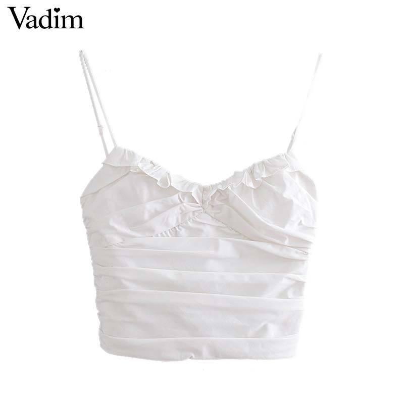 Vadim Women Solid White Short Blouse Cinghie regolabili con scollo a V Increspature Pieghe Backless Elastico Donna Sexy Crop Top Wa243 Y19042902