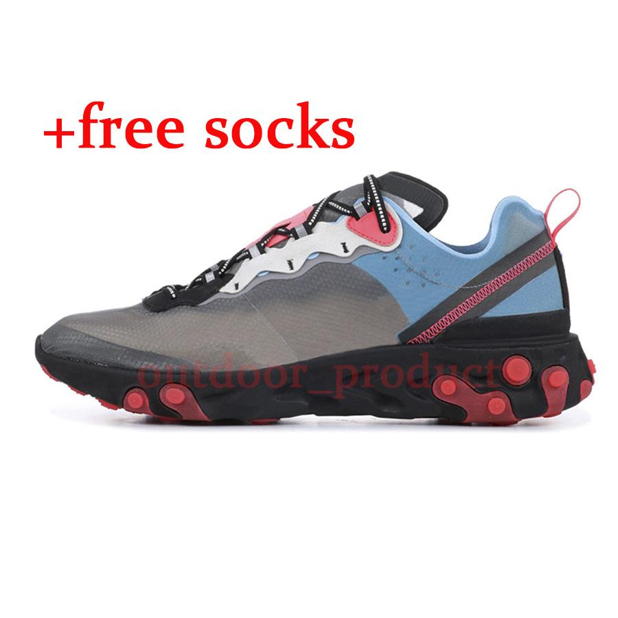 Element React 87 55 Undercover Women Mens Running Shoes Volt Racer Pink Royal Tint Thunder Orange Game Royal Blue Sports Sneakers Free Socks