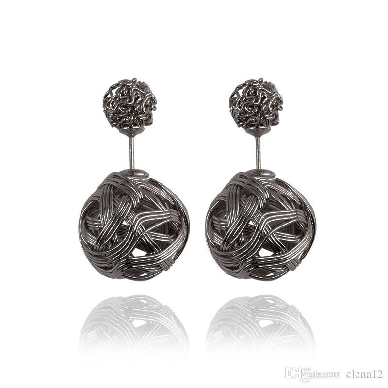 High quality Double sided Shambala Ball Stud Earrings Metal Braided Hollow Studs disco beads Earings fine Jewelry for women girls 170018