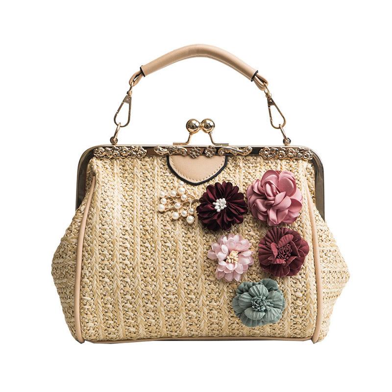Women Pearl Handbag INS Popular Female Summer Flower Straw Bag Lady Fashion Shoulder Bag Travel Beach Woven Crossbody Bag SS7220 (5)