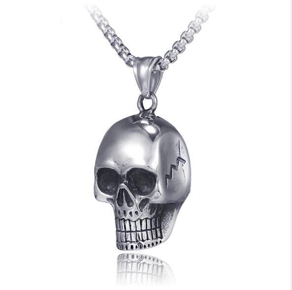 """Acero Inoxidable Esmalte Skull Black Dog Tag Colgante Para Hombre Regalo Collar De 28/"""""""