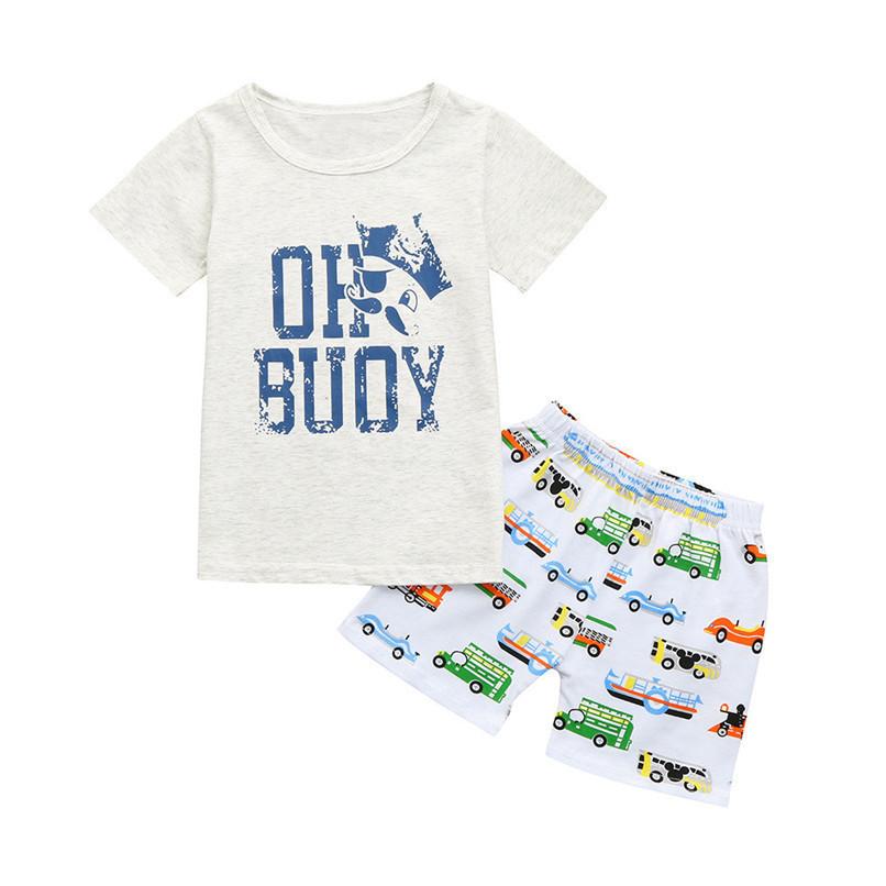 2PCS Baby Sets Toddler Kids Baby Boy Girl Short Sleeve Letter T-shirt Top+Cartoon Car Short Pants Set Baby Clothes M8Y21#F (1)
