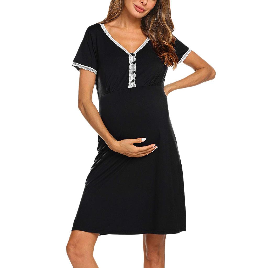 Trendy2019 Abito da donna incinta in pizzo di pizzo abito-abito sexy