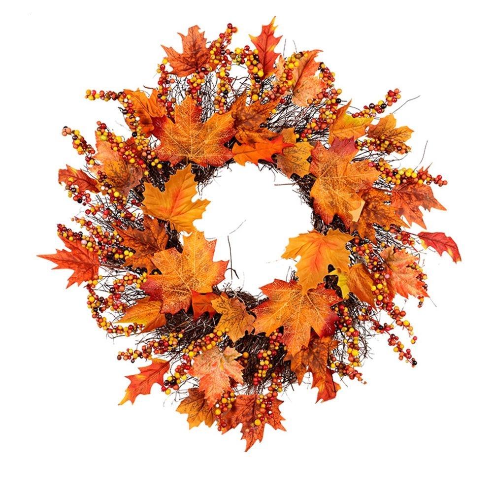 Ghirlanda porta di Halloween Foglia dacero artificiale Zucca Corona decorata Appeso a ghirlanda Ghirlanda autunnale Autunno per Natale Ringraziamento Decorazioni per la casa