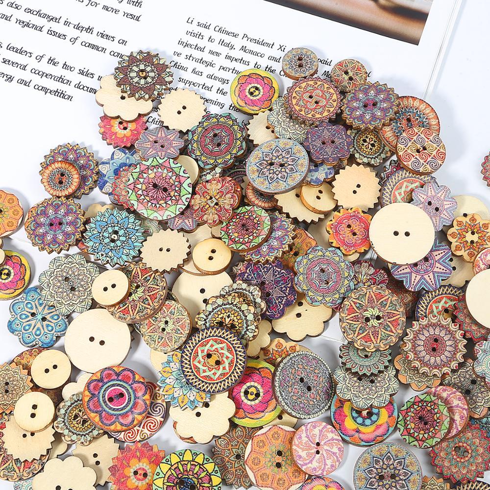 50Pcs 25 mm rond en bois Boutons 4 Trous Craft Couture Scrapbooking Bouton Wholesale